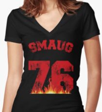 Smaug 76 Women's Fitted V-Neck T-Shirt