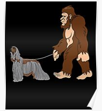 Bigfoot Walking Afghan Hound Funny Afghan Hound UFO Believer Sasquatch Research Team Dog Lover Poster