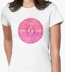 Watercolor peacocks - pink Women's Fitted T-Shirt
