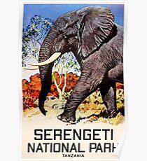 Serengeti Nationalpark Tansania Weinlese-Elefant Afrika Poster