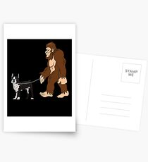 Bigfoot Walking Boston Terrier Funny Boston Terrier UFO Believer Sasquatch Research Team Dog Lover Postcards