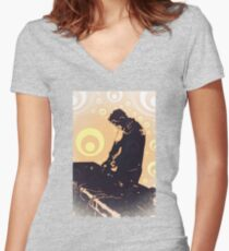 DJ at work [psychedelic edition] Women's Fitted V-Neck T-Shirt