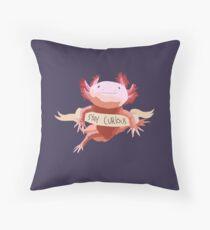 Stay Curious Axolotl Throw Pillow