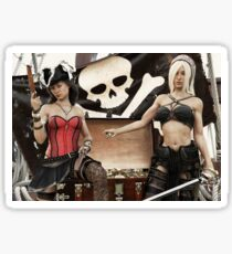 Pirate plunder. Two pirate females showing off there looted treasure of gold coins. Sticker