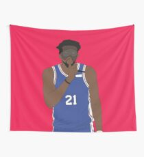 """Masked Joel Embiid Says """"Shhh"""" Wall Tapestry"""