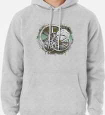 Gears and Time in Green and Bronze Pullover Hoodie