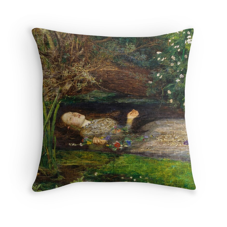 Ophelia Brick Wall Painting by Sir John Everett Millais