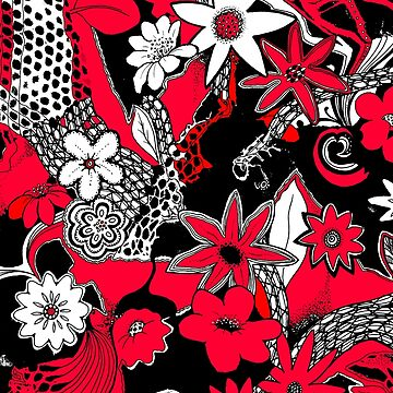 Tangled Collage 1 in Red Black and White by Heatherian