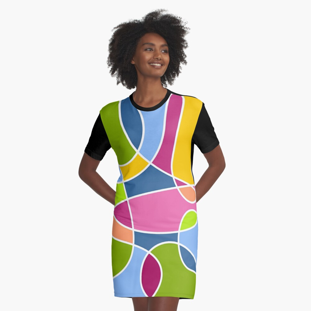 Ultra cool bold and bright scribble pattern Graphic T-Shirt Dress