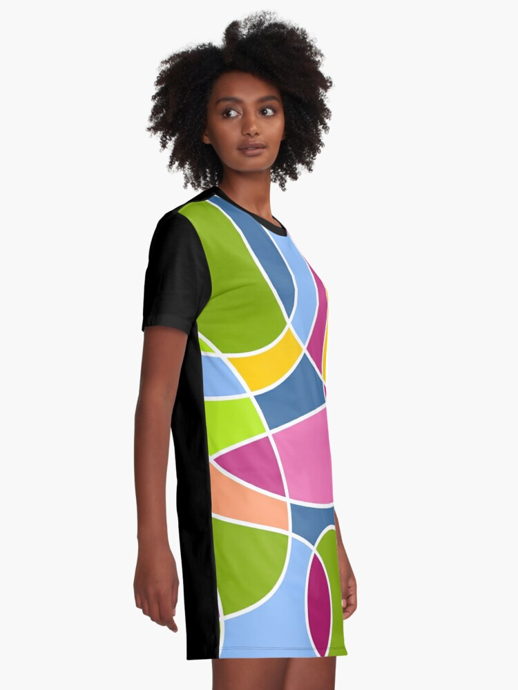 Alternate view of Ultra cool bold and bright scribble pattern Graphic T-Shirt Dress