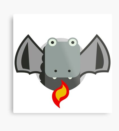 Cute Dragon Grey Metal Print