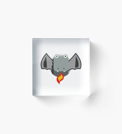 Cute Dragon Grey Acrylic Block