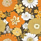 Orange, Brown, and Yellow Vintage Flower Pattern by Eyestigmatic