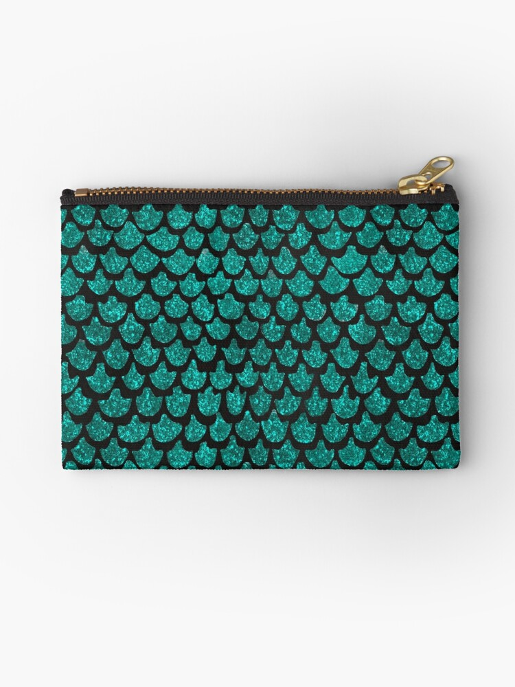 Mermaid Glam // Turquoise Glitter Watercolor Scales on Charcoal Chalkboard by ZirkusDesign