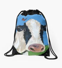 Cow With Pesky Butterflies Drawstring Bag