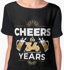 Cheers To 34 Years Birthday Gift Chiffon Top