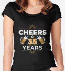 Cheers To 35 Years Birthday Gift Women's Fitted Scoop T-Shirt