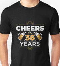 Cheers To 36 Years Birthday Gift Unisex T-Shirt