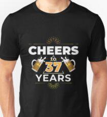Cheers To 37 Years Birthday Gift Unisex T-Shirt