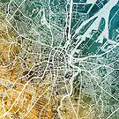 Belfast Northern Ireland City Map by Michael Tompsett