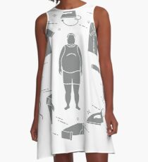 Fat man, irons and different clothes. A-Line Dress