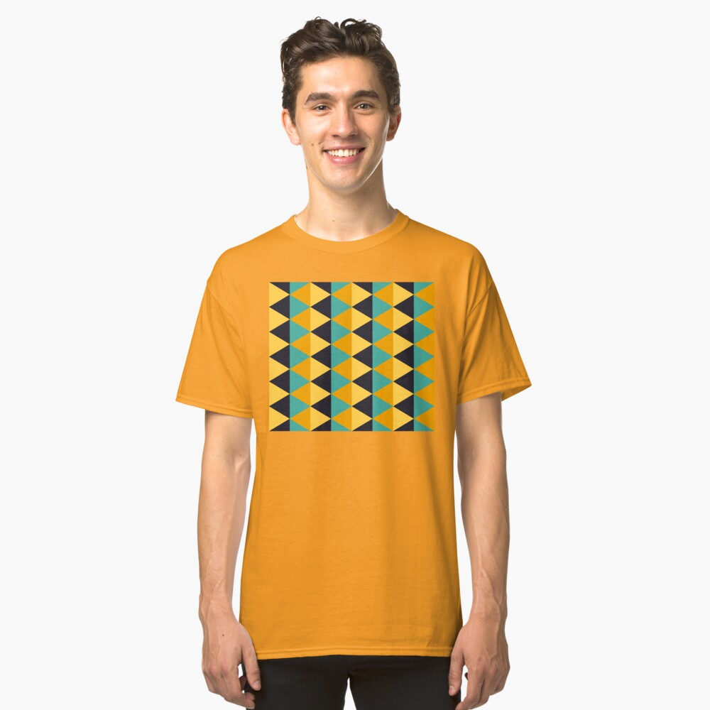 Geometric Pattern: Split Diamond: Blue/Yellow Classic T-Shirt