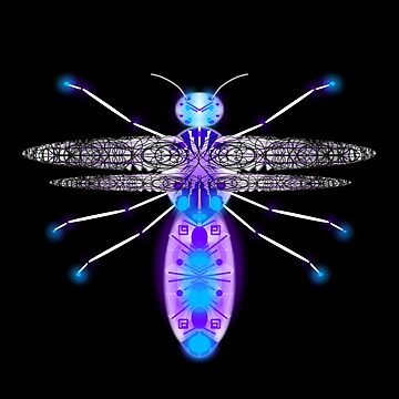 flying robot glowing insect - purpleblue and white mostly black background by M-Lorentsson