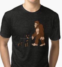 Bigfoot Walking Miniature Pinscher Funny Miniature Pinscher UFO Believer Sasquatch Research Team Dog Lover Tri-blend T-Shirt