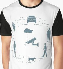 Security camera, dog, woman, girl, men, car. Graphic T-Shirt