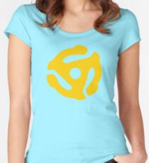 Yellow 45 RPM Vinyl Record Symbol Women's Fitted Scoop T-Shirt