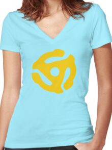 Yellow 45 RPM Vinyl Record Symbol Women's Fitted V-Neck T-Shirt