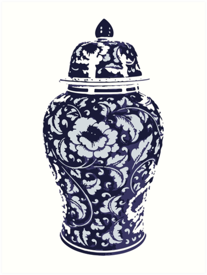 Navy Blue White Hamptons Ginger Jar Chinoiserie Vase Art Art Prints