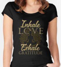 Inhale Love Exhale Gratitude - Yoga Namaste Chakra Women's Fitted Scoop T-Shirt