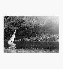 Sailing boat in mountain's lake - Lake of Predil (Tarvisio - Italy) Photographic Print
