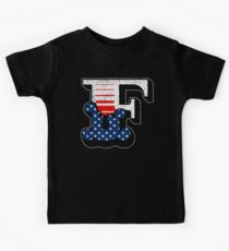 F RETRO STYLE CAPITAL LETTER INITIAL T-SHIRT CLASSIC VINTAGE DISTRESSED STARS AND STRIPES AMERICAN USA FLAG AMERICA 4th JULY FONT LOGO TYPEFACE LETTERING TYPOGRAPHY MONOGRAM TEE Kids Tee