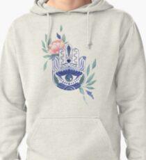 Watercolor Floral Hamsa Pullover Hoodie