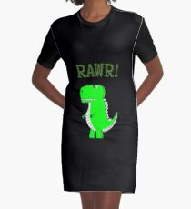 Cute Angry T-Rex Dinosaur RAWR Graphic T-Shirt Dress