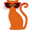 Orange Cat in Vintage Cat Eye Sunglasses by wmr2