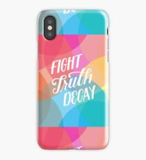 Fight Truth Decay - Warm Rainbow, Circle Patterned Background, White Letters iPhone Case/Skin