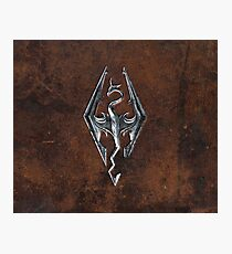 Skyrim Logo - Iron Embossed in Brown Leather Photographic Print