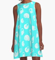 White Seashells on Bright Aqua Blue A-Line Dress