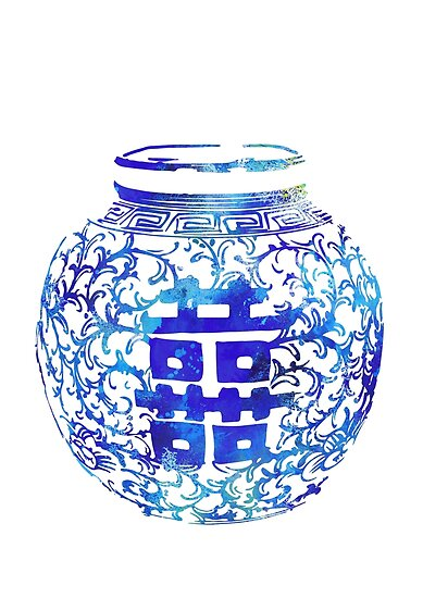 ming vase double happiness blue and white china vase watercolor ginger jar by