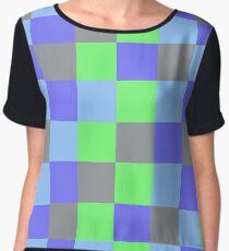 Green Grey and Blue Pixels Chiffon Top