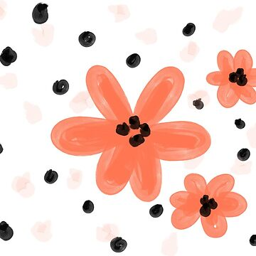 Modern Floral with Dots - Pink by harperalex