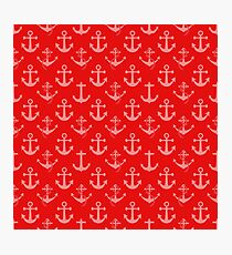 Nautical Red Sail Boat Anchors Photographic Print