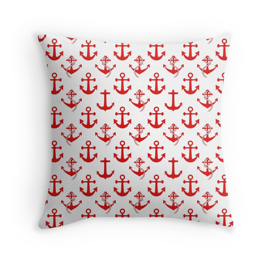 Nautical Red Sail Boat Anchors on White