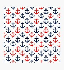 Red and Blue Nautical Sail Boat Anchors on White Photographic Print