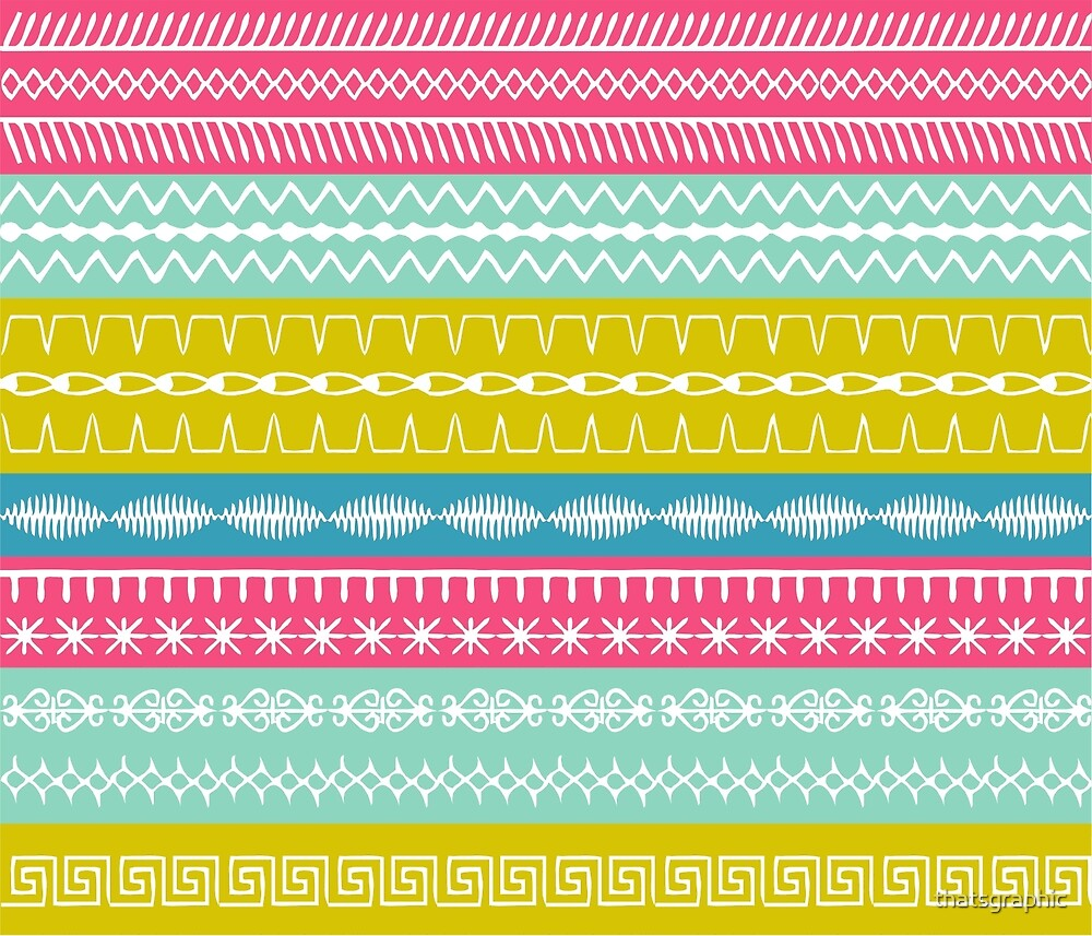 Spring coloured stripes with sewing stitches overlaid by thatsgraphic