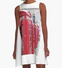 Red Telephone Boxes, London A-Line Dress