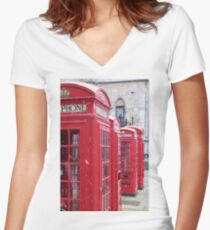 Red Telephone Boxes, London Women's Fitted V-Neck T-Shirt